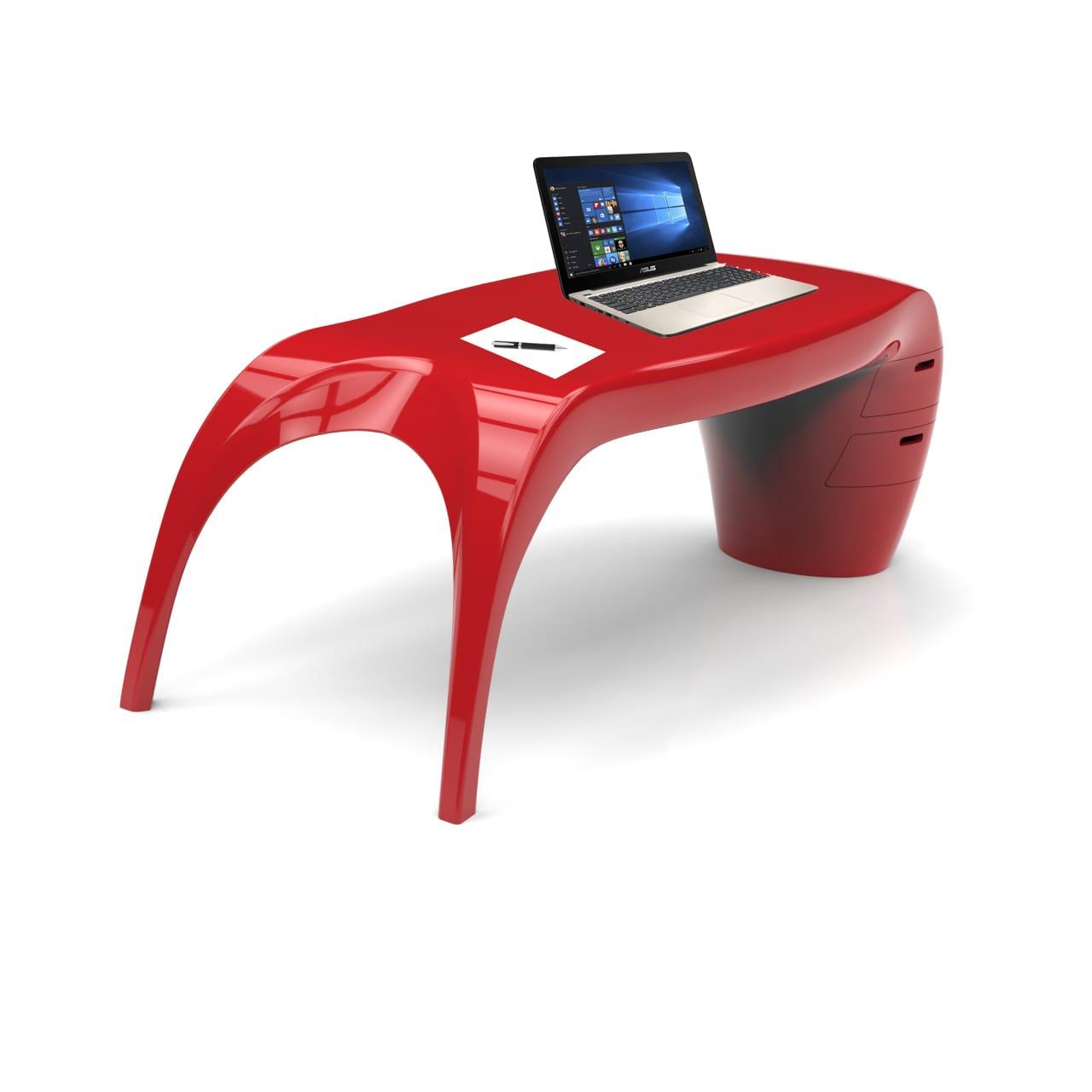 LADY DESK scrivania rossa realizzata in Adamantx